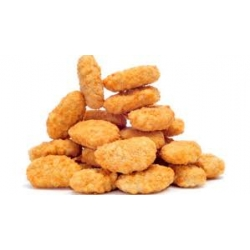 Chicken nuggets (minced chicken meat ,.seasoned,formed,breaded,pre fried,cooked and frozen) produce of brazil,process by islamic way